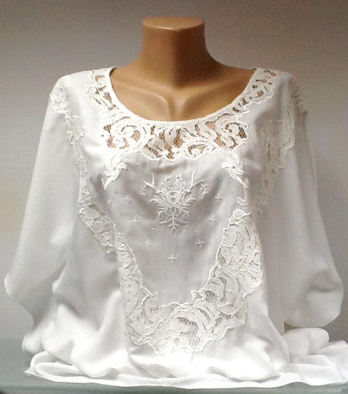 Блуза туника женская летняя шелковая белая с кружевом размер+