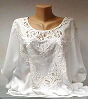 Блуза туника женская летняя шелковая белая с кружевом размер+, фото 1
