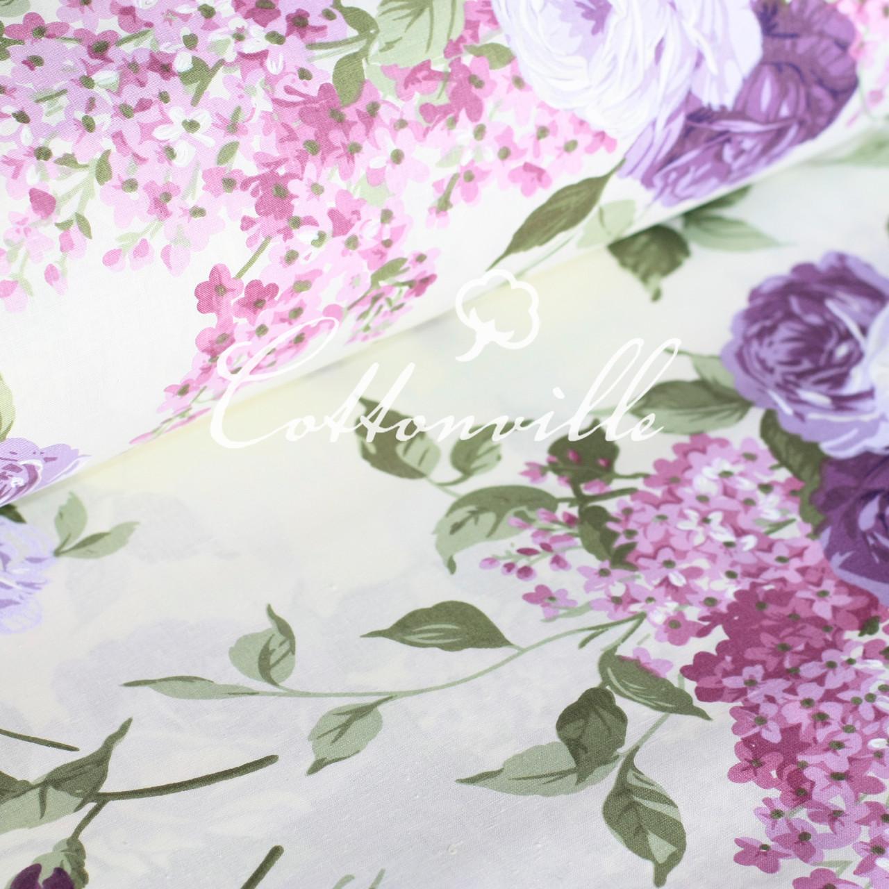 ✁ Отрезы хлопковой ткани Сирень с розами
