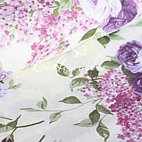 ✁ Отрезы хлопковой ткани Сирень с розами, фото 1