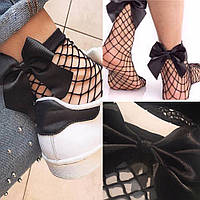 Носки черные сеточка сетка с бантами женские стильные