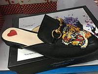 Потрясающие черные женские лоферы брендовые тапки с тигром GUCCI