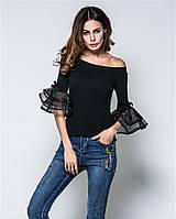 Кофта женская черная без плечей с рукавами-воланами