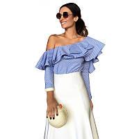 Стильная женская рубашка в полоску голубая с воланом