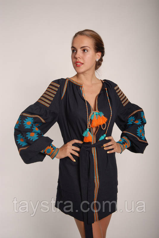Вышитое платье лен, этно, бохо-стиль, вишите плаття вишиванка, Bohemian