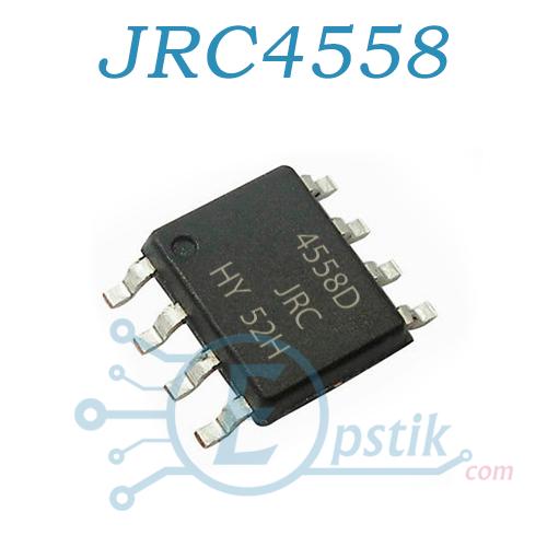 JRC4558D, двухканальный операционный усилитель, SOP8