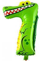 Шар цифра 7 крокодил из пленки 47 х 29 см