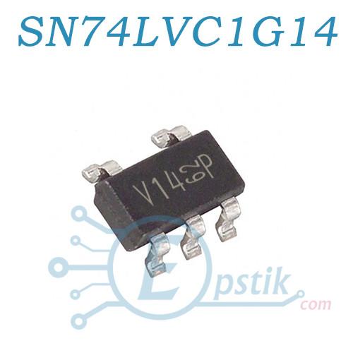 SN74LVC1G14DBVR, (V14), одноканальный инвертор с триггером Шмитта, SOT23-5