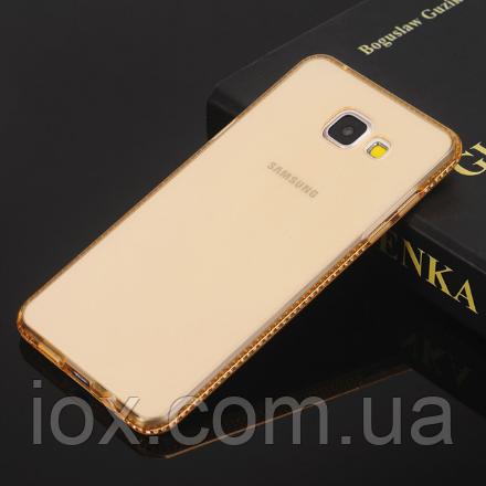 Силіконовий золотий чохол з камінням Сваровські для Samsung Galaxy A7 (2017)