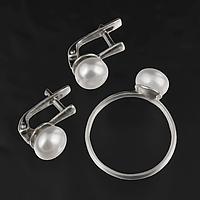 Жемчуг белый Ø8, кольцо и серьги комплект, 028КМЖ