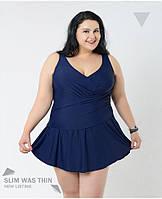 Купальник слитный в виде платья большой размер темно синий 4XL (58 р-р)