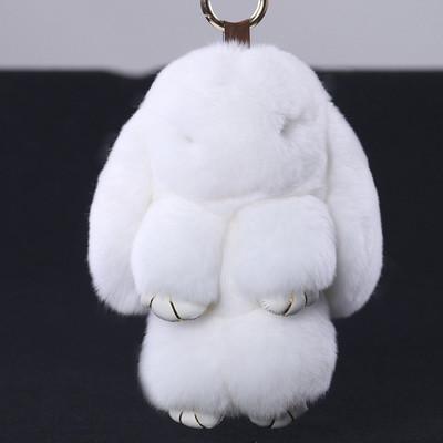 Брелок  кролик из натурального меха, белый