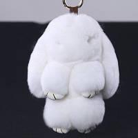 Брелок кролик из натурального меха, белый 18 см