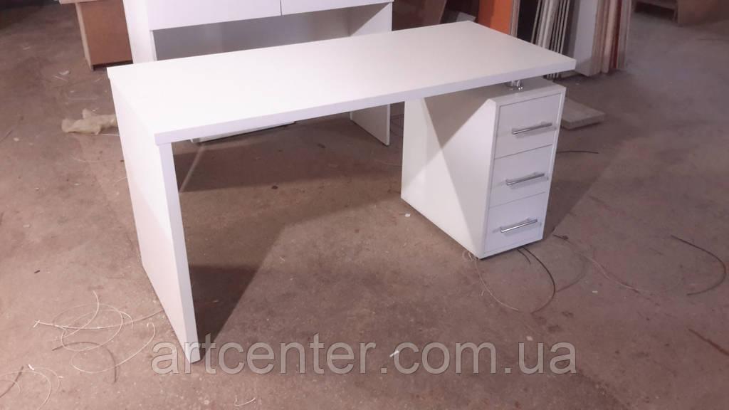 Стол для маникюра с тремя выдвижными ящиками, офисный стол белый с ящиками