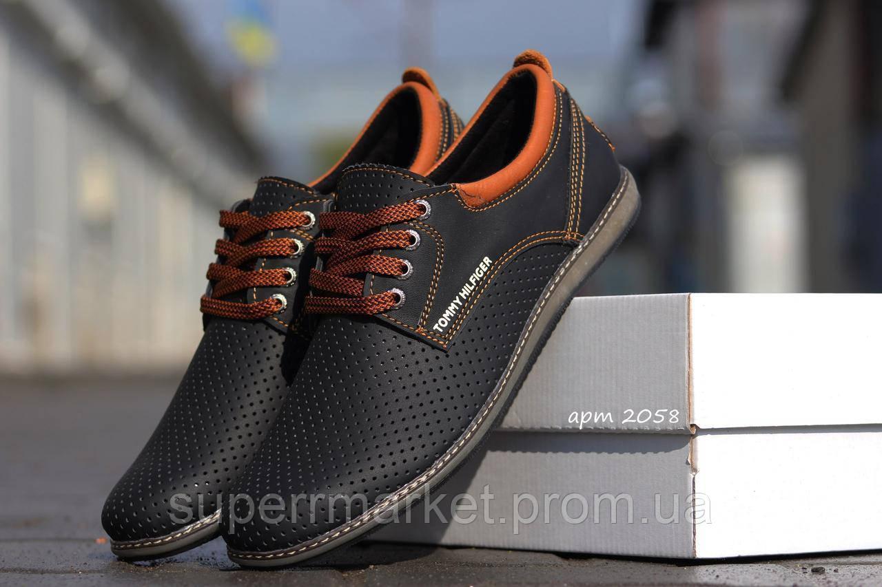 Мужские туфли Tommy Hilfiger (черные) кожаные туфли 41р