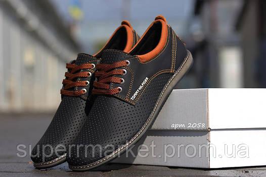 Мужские туфли Tommy Hilfiger (черные) кожаные туфли 41р, фото 2