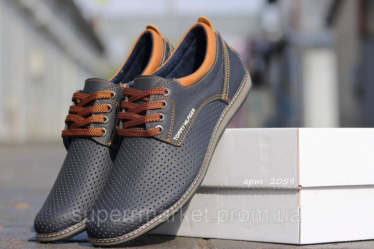 Мужские туфли Tommy Hilfiger  синие  кожаные туфли 44р,45р