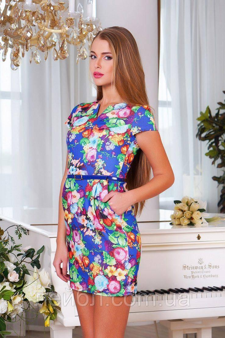 """Платье из джинсовой ткани """"Цветы"""" разм.М(44-46)"""