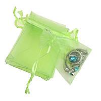 Подарочный мешочек из органзы зеленого цвета размер 7 х 9 см.
