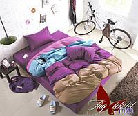 Хлопковое постельное белье, полуторный размер, Color mix APT020