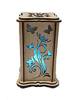 """Соляной светильник деревянный """"Бабочки + цветы маленький синий"""""""