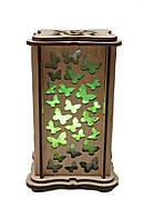 """Соляной светильник деревянный """"Бабочки маленький зеленый"""""""