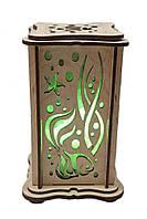 """Соляной светильник деревянный """"Водный мир маленький зеленый"""""""