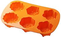 Силиконовая форма Лист на 6 Кексов Снежинка (73х36)мм EM7105 (Empire Эмпаир Емпаєр) 