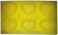 Силиконовая форма Сердца рельефные 6 шт. 30*17.2*2 CM EM7185 (Empire Эмпаир Емпаєр) 