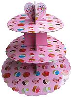 Трехъярусный стенд подставка для капкейков, EM0314 розовый (Empire Эмпаир Емпаєр) 