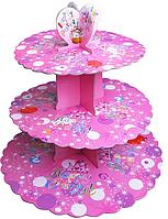 Трехъярусный стенд подставка для капкейков, EM0311 розовый (Empire Эмпаир Емпаєр) 