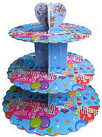 Трехъярусный стенд подставка для капкейков, голубой EM0313 (Empire Эмпаир Емпаєр) 