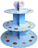 Трехъярусный стенд подставка для капкейков, EM0319 голубой (Empire Эмпаир Емпаєр) 