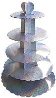 Пятиярусный стенд подставка для капкейков Голограмма, серебро EM0324 (Empire Эмпаир Емпаєр) 
