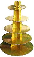 Пятиярусный стенд подставка для капкейков Голограмма, золото EM0323 (Empire Эмпаир Емпаєр) 