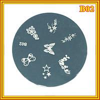 Диск для Стемпинга Круглый В02 Бабочки и Цветы для Nail Art