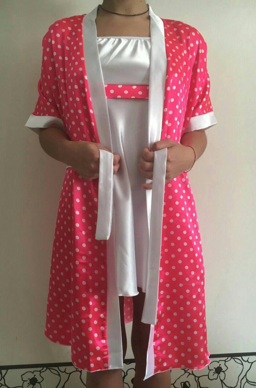 Женский атласный пеньюар+халат в горошек, фото 1