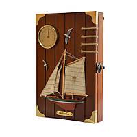 """Ключница  настенная, деревянная с термометром  - """"Морская"""" 60124В"""