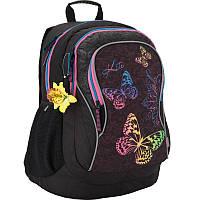 Рюкзак школьный подростковый с бабочками  Кайт  34 л  , 854L ортопедическая спинка