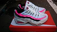 Подростковые+женские кроссовки air max 95 белые с розовой полоской