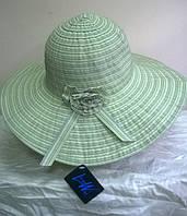 шляпа из текстильной ленты с розочкой  салатового цвета