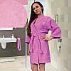 Короткий махровый халат с вышивкой ТМ Ярослав, розовый