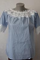 Блуза бавовняна з кружевом -2, фото 1