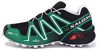Мужские спортивные кроссовки Salomon Speedcross 3 Саломон черные/зеленые