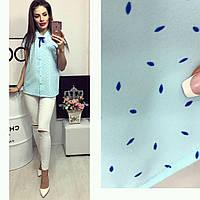 Рубашка короткий рукав (781) лепесточек цвет голубой, фото 1