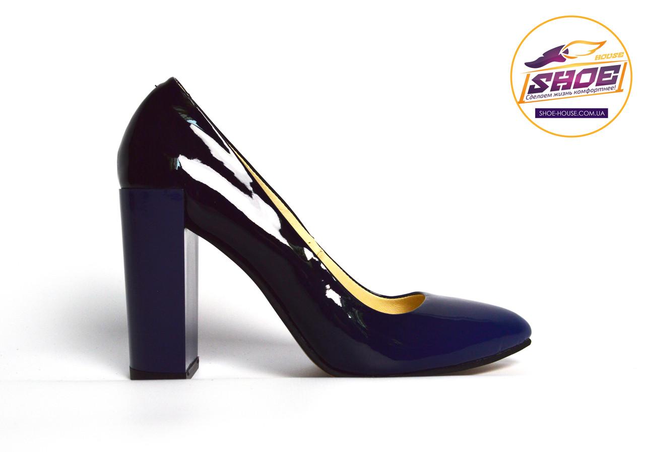 Туфли-лодочки синие омбрэ женские кожаные лаковые Ari Andano на толстом устойчивом каблуке