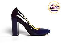 Туфли-лодочки синие омбрэ женские кожаные лаковые Ari Andano на толстом устойчивом каблуке, фото 1