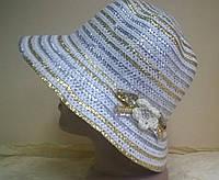 летняя  шляпка из рисовой соломки с золотой нитью