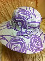 Летняя шляпа - панамка  с ремешком цвет сиреневый
