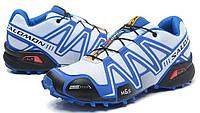 Мужские спортивные кроссовки Salomon Speedcross 3 Саломон белые/синие